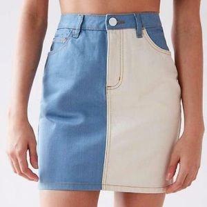 BDG Colorblock Mini Skirt Blue Cream Denim Small